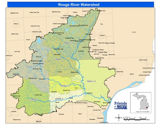 A map of the Rouge River watershed.
