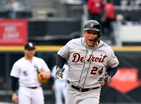 Tigers designated hitter Miguel Cabrera reacts after his home run in the first inning of Game 1 of a baseball doubleheader on Saturday, Sept. 28, 2019, in Chicago.