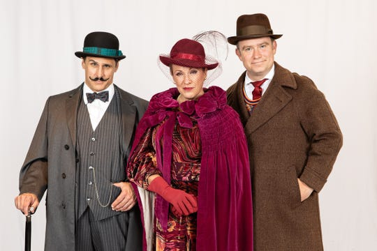 "Ron Williams, Lynnae Lehfeldt and Peter C. Prouty in ""Murder on the Orient Express"" at Meadow Brook Theatre."