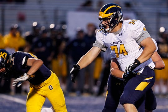 Clarkston offensive tackle Garrett Dellinger (74) during second half against Oxford at Oxford High School in Oxford, Friday, Sept. 27, 2019.