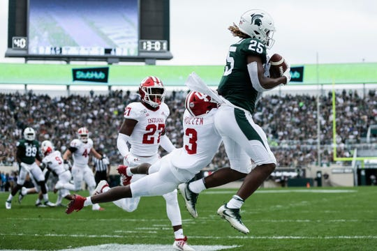 Michigan State receiver Darrell Stewart Jr. has this pass ripped away by Indiana defensive back Tiawan Mullen during the first half at Spartan Stadium in East Lansing, Saturday, Sept. 28, 2019.