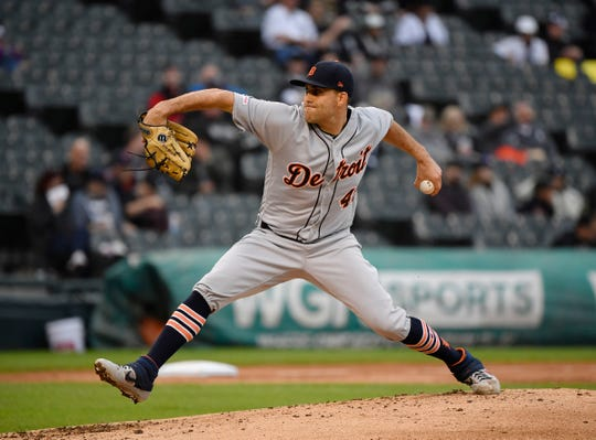 Detroit Tigers starting pitcher Matthew Boyd (48) delivers the ball in the third inning against the Chicago White Sox at Guaranteed Rate Field.