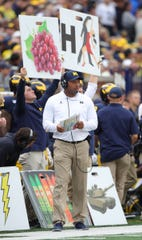 Michigan offensive coordinator Josh Gattis on the sidelines during the second half of U-M's 52-0 win on Saturday, Sept. 28, 2019, at Michigan Stadium.