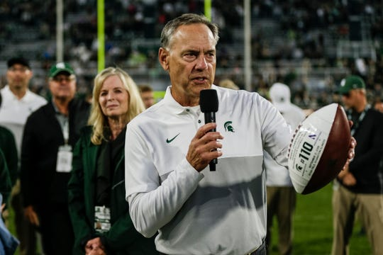 Michigan State head coach Mark Dantonio speaks during the celebration of his program record for wins after defeating Indiana, 40-31, Saturday, Sept. 28, 2019 at Spartan Stadium in East Lansing. The record was set the week prior.