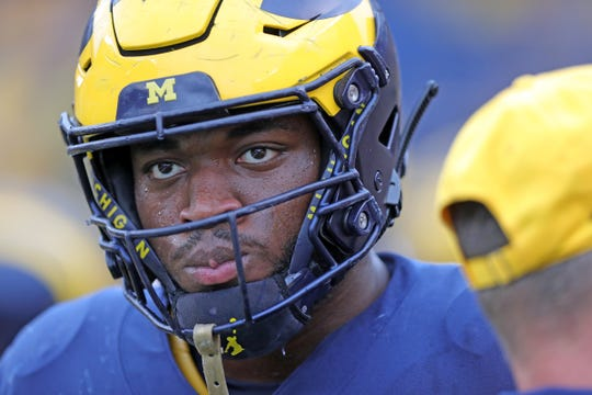 Michigan Wolverines linebacker Josh Uche (6) on the field before action against the Rutgers Scarlet Knights on Saturday, Sept. 28, 2019, at Michigan Stadium in Ann Arbor.