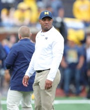 Michigan offensive coordinator Josh Gattis on the field before the game against Rutgers on Saturday, Sept. 28, 2019, at Michigan Stadium.