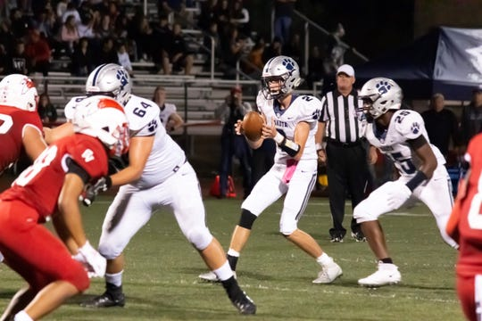 Dakota junior quarterback Zach Droski takes a snap Friday night against Chippewa Valley.