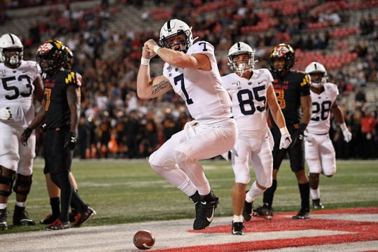 Penn State quarterback Will Levis (7) celebrates his touchdown during the second half on Friday.