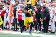 Wide receiver Nico Collins runs down the sideline for a touchdown in the first quarter during Michigan's 52-0 win over Rutgers last Saturday.