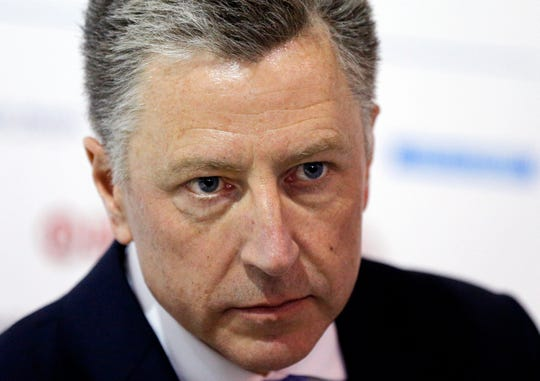 FILE - Volker, a former U.S. ambassador to NATO caught in the middle of a whistleblower complaint over President Donald Trump's dealings with Ukraine, has resigned from his post as special envoy to the Eastern European nation. A U.S. official says Volker told Secretary of State Mike Pompeo on Friday, Sept. 27, 2019, of his decision to leave the job.