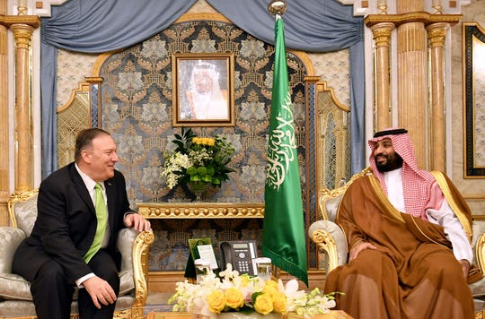 U.S. Secretary of State Mike Pompeo, left, meets with Saudi Arabia's Crown Prince Mohammed bin Salman in Jeddah, Saudi Arabia, on Sept 18.