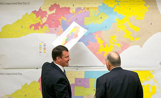 FILE - North Carolina's congressional map is being challenged again on accusations that Republican lawmakers fashioned districts to maximize GOP seats. Democratic and independent voters sued on Friday, Sept. 27, 2019 in state court, alleging extreme partisanship in how the 13 districts were drawn.