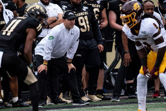 Western Michigan coach Tim Lester watches from the sidelines.
