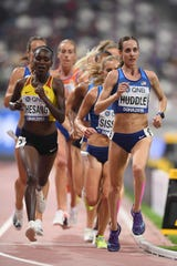 Elmira native Molly Huddle competes in the women's 10,000 meters final at the IAAF World Championships at Khalifa International Stadium on September 28, 2019 in Doha, Qatar.