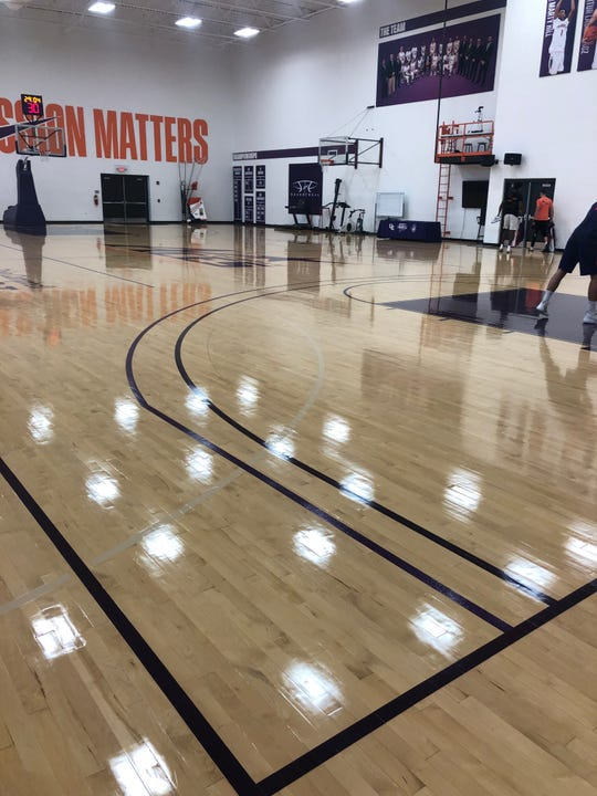 The Aces' practice court inside Carson Center now has two 3-point arcs since the NCAA has extended the line.