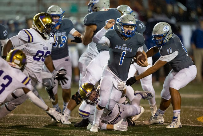 Poudre High School football running back Tate Satterfield, shown during a Sept. 27, 2019, game against Fort Collins, and his teammates face cross-town rival Rocky Mountain at 7 p.m. Friday at French Field.