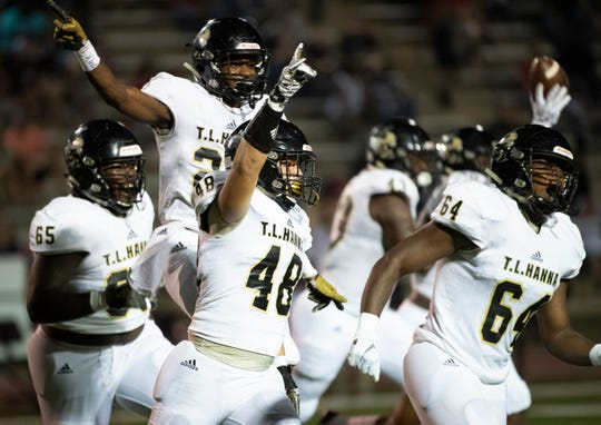 T.L. Hanna celebrates a play during the game at Westside Friday, Sept. 27, 2019.