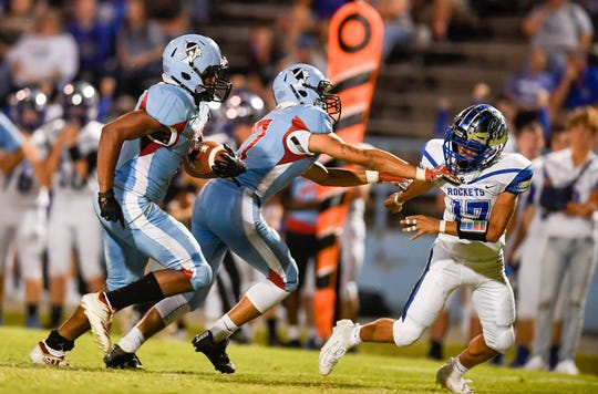 Union County's Elijah Calloway (6) breaks away for touchdown run in the first half as the Union County Braves play the Crittenden County Rockets on homecoming night in Morganfield Friday, September 27, 2019.