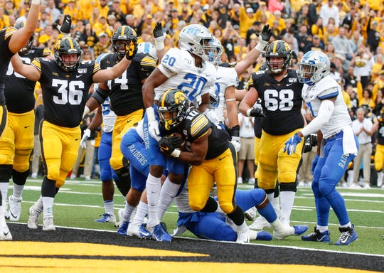 Mekhi Sargent capped Iowa's first drive of the game with a 5-yard touchdown run.