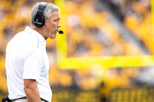 Iowa head coach Kirk Ferentz watches play during a NCAA non conference football game between the Iowa Hawkeyes and Middle Tennessee State, Saturday, Sept., 28, 2019, at Kinnick Stadium in Iowa City, Iowa.