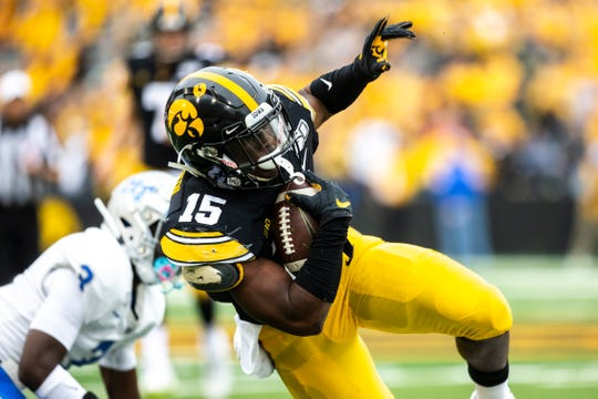 Tyler Goodson was this week elevated to Iowa's depth chart (at No. 3 running back) for the first time. He has 40 carries for 228 yards and 14 receptions for 83.
