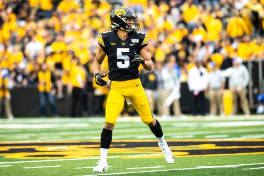 Michigan transfer Oliver Martin, an Iowa City West product, has five catches for 24 yards this season in 55 offensive snaps.