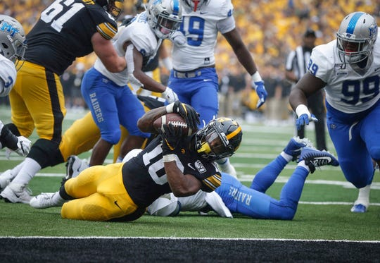 Mekhi Sargent (10) has just one lost fumble in 239 offensive touches in his Iowa career; teammate Toren Young has none in 223.