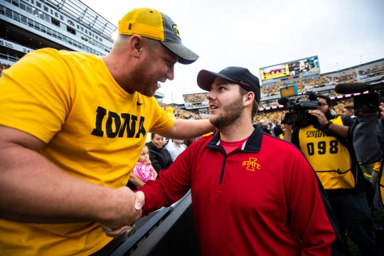 Carson King is greeted by an Iowa fan during a NCAA non conference football game between the Iowa Hawkeyes and Middle Tennessee State, Saturday, Sept., 28, 2019, at Kinnick Stadium in Iowa City, Iowa.