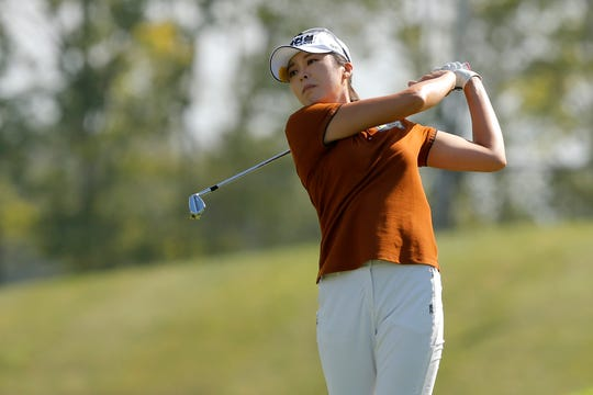 LPGA golfer Mi Jung Hur watches her shot off the 3rd tee during the third round of the Indy Women In Tech on September 28, 2019, at the Brickyard Crossing Golf Club in Indianapolis, Indiana.