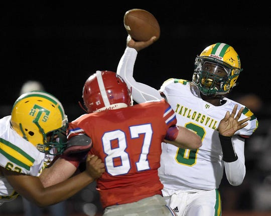 Taylorsville quarterback Ty Keyes (8) throws against Prep on Friday, September 27, 2019, at Jackson Prep in Flowood, Miss.