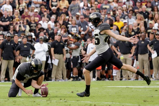 Purdue kicker J.D. Dellinger (85) kicks a field goal during the first quarter of a NCAA football game, Saturday, Sept. 28, 2019 at Ross-Ade Stadium in West Lafayette.