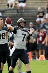 Purdue quarterback Nick Sipe (7) throws prior to a NCAA football game between the Purdue Boilermakers and the Minnesota Gophers, Saturday, Sept. 28, 2019 in West Lafayette.