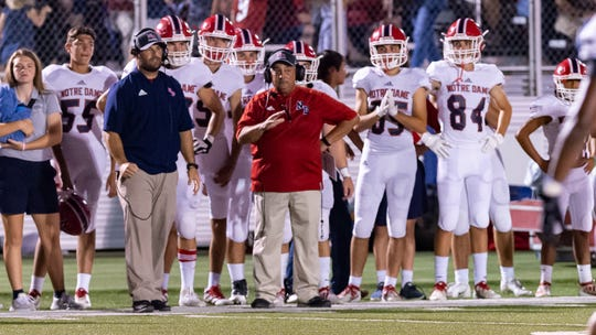 Pios head coach Lewis Cook as The Teurlings Catholic Rebels take on the Notre Dame Pios.  Friday, Sept. 27, 2019.