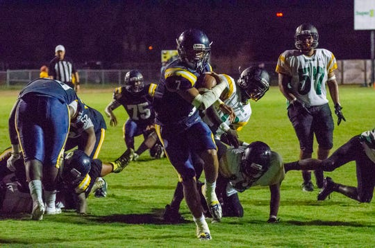Carencro running back Kendrell Williams (7) led the team with 141 rushing yards on eight rushes for four touchdowns.