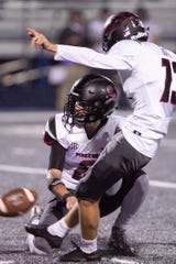 Max Gonos kicked two first-half field goals for Pinckney in a 40-14 victory at Ypsilanti Lincoln on Friday, Sept. 27, 2019.