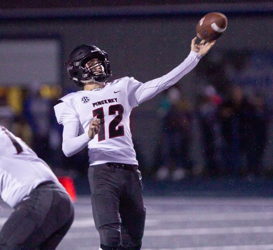 Pinckney quarterback Joe Bona throws a 63-yard touchdown pass to Noah Bachmeier for the go-ahead touchdown in a 40-14 victory at Ypsilanti Lincoln on Friday, Sept. 27, 2019.