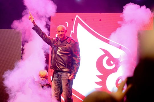 Chris Mack during a UofL basketball pep rally at Fourth Street Live in Louisville, KY. Sept. 27, 2019