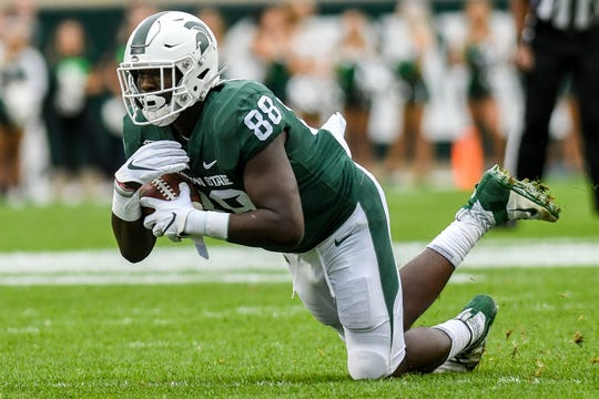 Michigan State redshirt freshman tight end Trenton Gillison finished with 12 catches for 147 yards in 12 games this season.