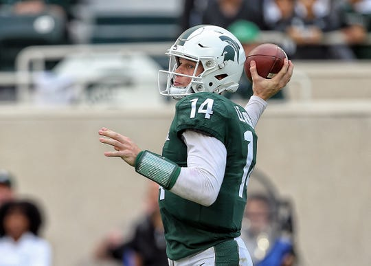 Sep 28, 2019; East Lansing, MI, USA; Michigan State Spartans quarterback Brian Lewerke (14) looks to throw the ball during the first half of a game against the Indiana Hoosiers at Spartan Stadium. Mandatory Credit: Mike Carter-USA TODAY Sports