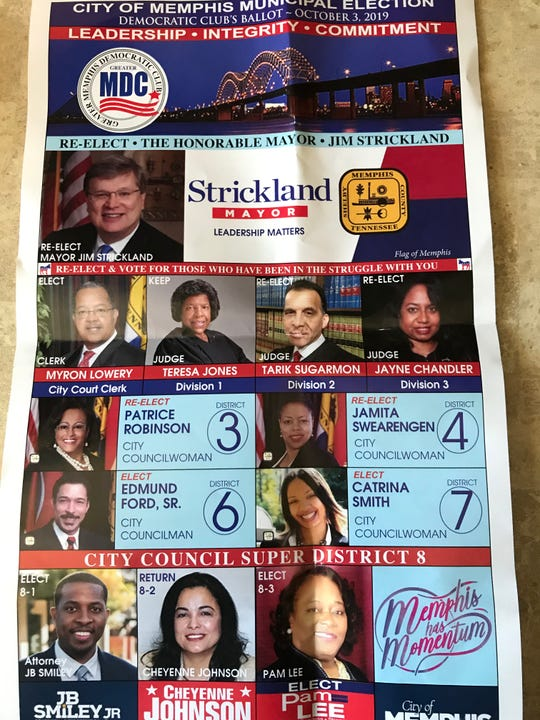 "The front of a ""Greater Memphis Democratic Club"" ballot. The Shelby County Democratic Party has sued two entities distributing the ballots, arguing they're misleading to voters."