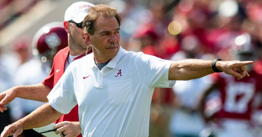 Alabama head coach Nick Saban before the Ole Miss game at Bryant-Denny Stadium in Tuscaloosa, Ala., on Saturday September 28, 2019.