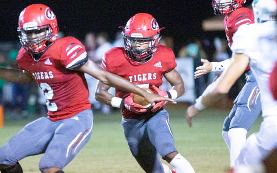 Luverne's Satyler Wilson runs the ball during the first half against Brantley.