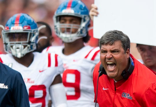 Ole Miss head coach Matt Luke against Alabama at Bryant-Denny Stadium in Tuscaloosa, Ala., on Saturday September 28, 2019.