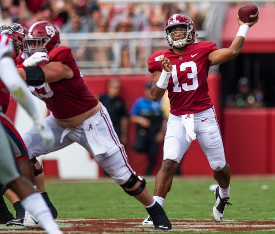 Alabama quarterback Tua Tagovailoa (13) passes again st Ole Miss at Bryant-Denny Stadium in Tuscaloosa, Ala., on Saturday September 28, 2019.