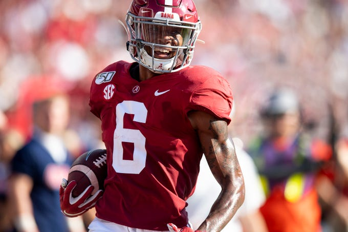Alabama wide receiver DeVonta Smith (6) scores his third touchdown of the day against Ole Miss at Bryant-Denny Stadium in Tuscaloosa, Ala., on Saturday September 28, 2019.