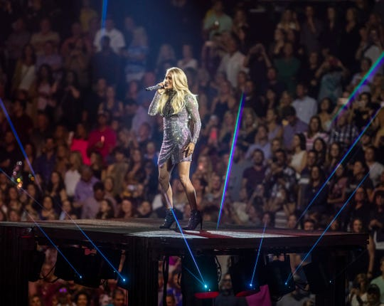 Carrie Underwood performs at Bridgestone Arena on Friday Sept. 27, 2019 in Nashville, Tenn.