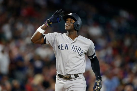 Sep 27, 2019; Arlington, TX, USA;  New York Yankees right fielder Cameron Maybin (38) celebrates hitting a home run in the second inning against the Texas Rangers at Globe Life Park in Arlington. Mandatory Credit: Tim Heitman-USA TODAY Sports