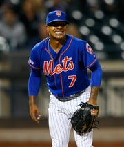 Sep 27, 2019; New York City, NY, USA;  New York Mets starting pitcher Marcus Stroman (7) reacts after a wild pitch in the sixth inning against the Atlanta Braves at Citi Field. Mandatory Credit: Noah K. Murray-USA TODAY Sports