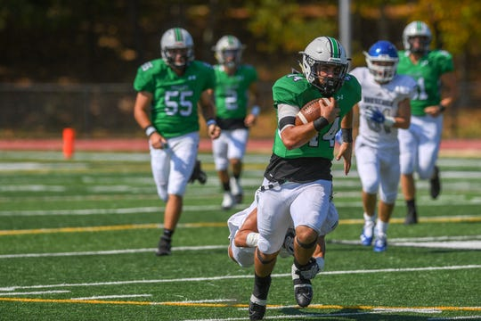 Demarest football at Pascack Valley on Saturday, September 28, 2019. PV #44 Jake Williams.