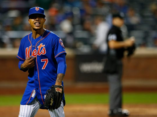 Sep 27, 2019; New York City, NY, USA;  New York Mets starting pitcher Marcus Stroman (7) leaves the game in the sixth inning against the Atlanta Braves at Citi Field. Mandatory Credit: Noah K. Murray-USA TODAY Sports